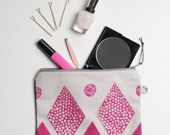 Block printed zipper Pouch, Travel organiser, Cosmetic bag, pouch, Pink pouch