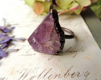 rough ring, fluorite ring, fluorite, geode ring, boho style, bohemian, copper Electroformed, Statement Ring, gift, mariaela, earthy