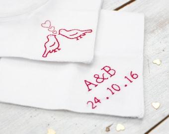 Personalised handkerchief - love birds - something blue - wedding hanky - second wedding anniversary - gift for anniversary - brides hanky