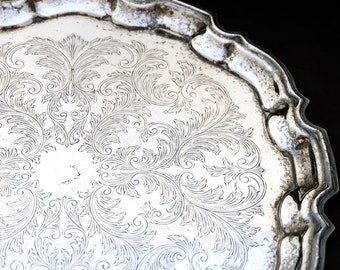 Vintage Silver Plated Tray, Cavalier Silver Serving Tray, Silver Serving Platter, Chased Silver Plated Tray, Ornate Silver Butlers Tray
