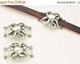 up to 40% Off Silver Abstract Octopus - For use with flat leather up to 10MM - Antique Silver Qty. 1