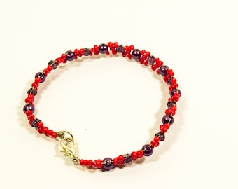 Red and Purple Beaded Bracelet - Your Scarlet Dream