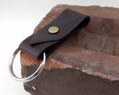Brown Leather Key Ring w/ oak leaf stamp + brass rivet, leather key fob, leather keychain, vegetable tanned leather key fob, leather keyring