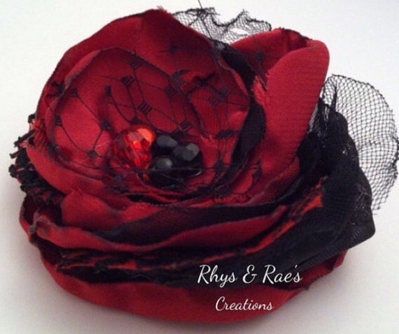 Black Flower Hair Accessory J7213: Red And Black Fabric Flower Hair Clip With Bridal Veil Red