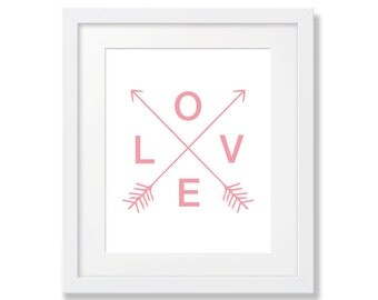 Love Baby Girl Nursery Art, Love Arrows, Pink Nursery Art, Baby Girl Room Art, Pink Arrows, Pink Arrow Printable, Girl Wall Decor, Love Pink