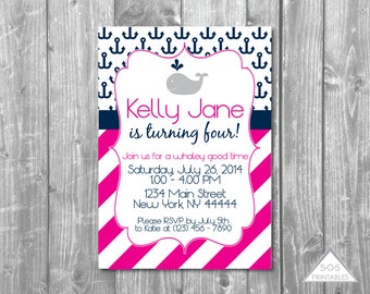 Pink Whale Birthday Invitation, Whale and Anchor, Girl Birthday, Whale Invitation, Printable Invitation, Girl Whale Party, Digital Invite