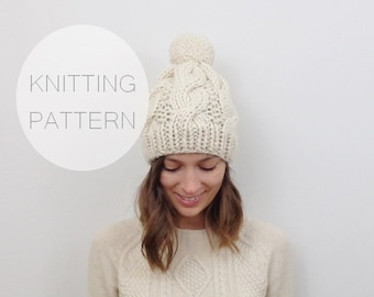Knitting Pattern / Cable Knit Hat with Pom-Pom / THE SIBERIAN Instant Download