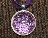 Purple Glitter Round Glass Pendant in Silvertone Tray with Necklace