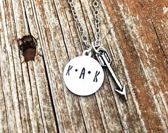 Hand Stamped 3 Initial Necklace