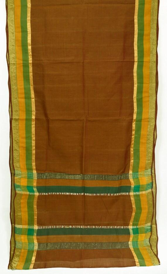 Indian Textile Woven Zari Fabric Brown Saree Vintage