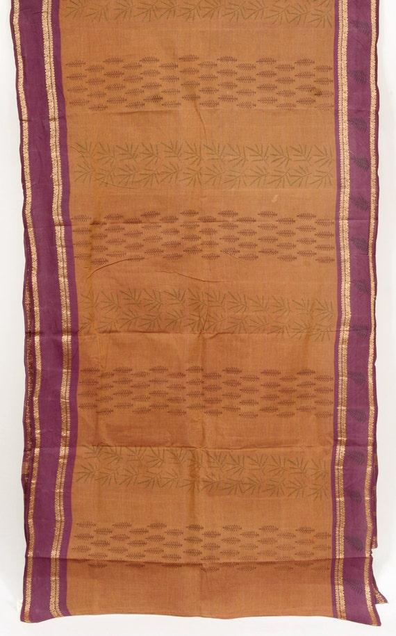 Zari Floral Striped Tan Color Saree Vintage Indian Fabric