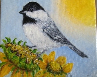 SALE! Chickadee Bird and Sunflowers Oil Painting ~ Shipping Included