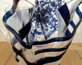 Blue artistic vase, dutch art vase