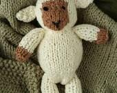 Organic Cotton Knitted Lamb, Lamb Lovie, Newborn Photoprop Lamb, Lamb Stuffed Animal