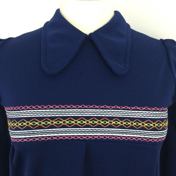 Mod babydoll minidress 1960s crimplene tunic top navy pennyround collar UK 10 12 micro mini patch pockets cute A line