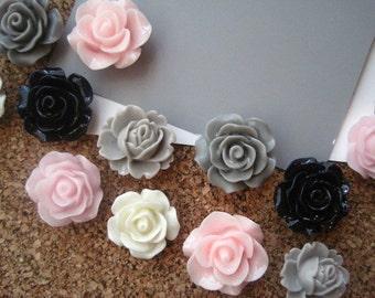 Flower Thumbtacks, 12 Pink, Ivory, Navy Blue and Gray Push Pins, Bulletin Board Tacks, Wedding Decor, Gifts, Housewarming Gift