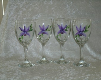 ORCHID WINE GLASSES, set of four