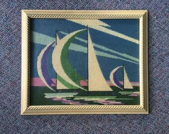 1980's Framed Needlepoint Sailboat Art
