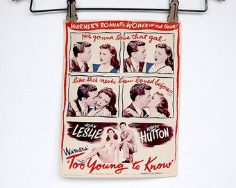 Vintage Movie Flyer - Old Movie Handbill - Movie Theater Decor - Too Young to Know - Movie Lover Gift - Movie Decor - Valentine's Gift