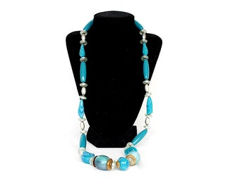Beaded Necklace - Vintage Jewelry - Long Necklace - Blue Necklace - Fashion Jewelry - Chunky Bead Necklace - Summer Jewelry - Ellelle - Itay