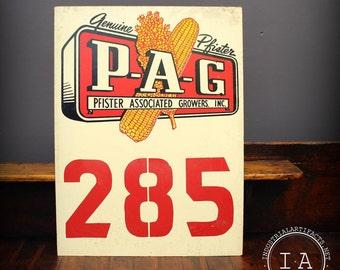 Vintage Genuine Pfister Associated Growers PAG Seed Masonite Advertising Sign