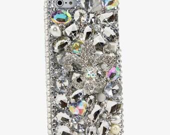 iPhone 7 SE 6 6s Plus 5 5s / Samsung Galaxy S8 S7 S6 Note Edge Plus / Handcrafted Case Cover 3D Luxury Bling Diamond Silver Fleur De Lis_731