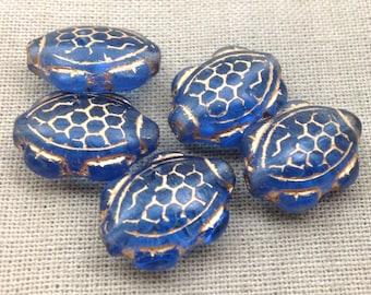 10 Blue Gold Czech Turtle Glass Beads 17mm