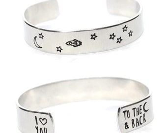 I love you to the moon and back 1/2 inch cuff bracelet