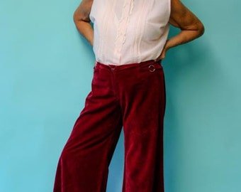 Groovy 1960's Maroon Suedecloth Miss Pat Bellbottom Pants - Size 2