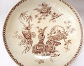 Victorian Aesthetic Brown Transferware Compote by T. Elsmore & Son, Tunstall England, 1890s
