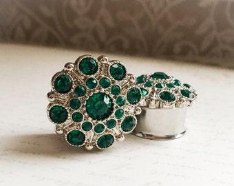 Emerald, Vintage Styled Rhinestone Plugs, gauges   7/8, 1 inch