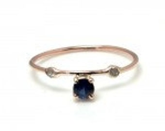14K Gold and Diamond Over the Sapphire Ring