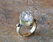 Raw Herkimer Quartz Ring set on solid yellow bronze-made to order