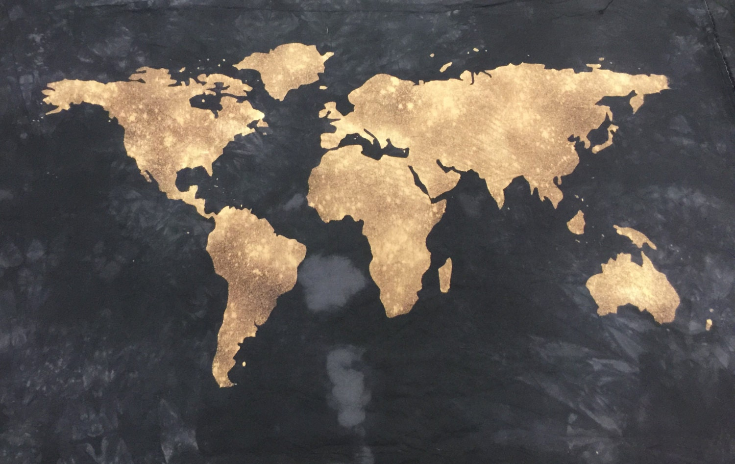 World Map Wall Tapestry Hand Dyed Black Atlas Map