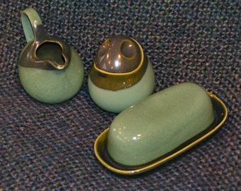 SANGO CREAMER,  SUGAR Bowl, Butter Dish.  Nova, Beautiful Shades of Green Vintage 60's, Asian inspired.  Mint!