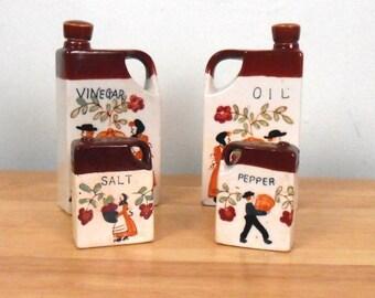 Salt and Pepper Shaker - Oil and Vinegar Set - Thanksgiving Harvest - Free US Shipping!
