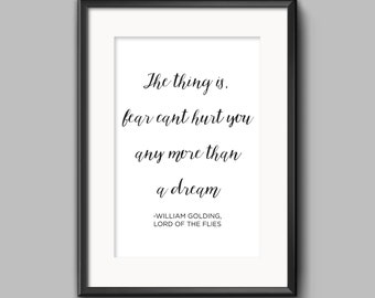Lord of the Flies Quote Calligraphy Poster | Fear Quote  | Book Art | William Golding | Wall Poster | Classic Books