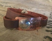 Hand stamped and hammered copper and silver mother leather wrap bracelet