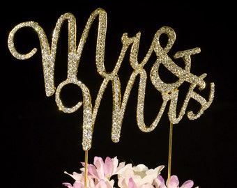 Mr & Mrs Wedding Cake Toppers Crystal Bling Cake Topper Cake Decoration  Gold or Silver