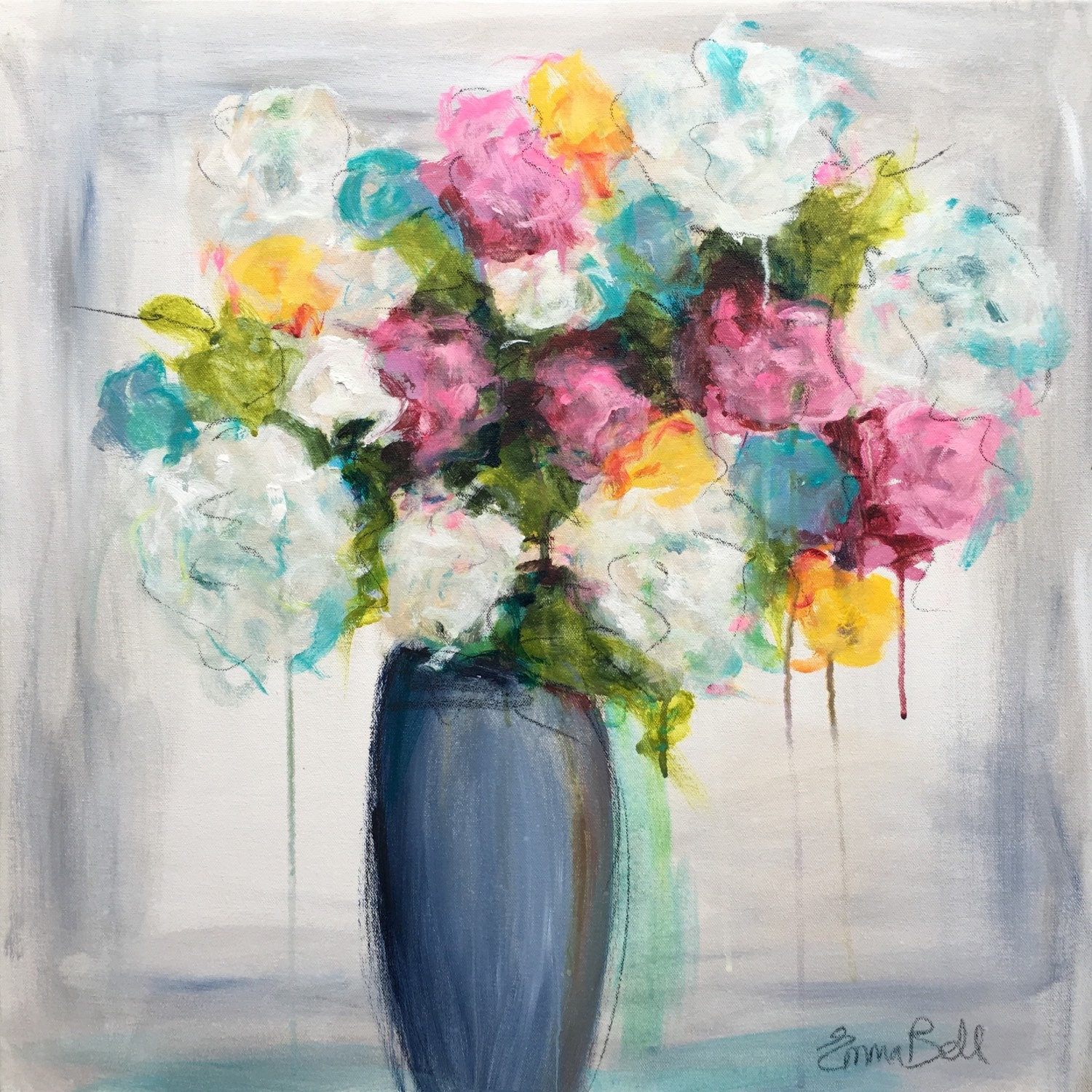 Original painting bright floral vase 24x24 with by for Bright flower painting