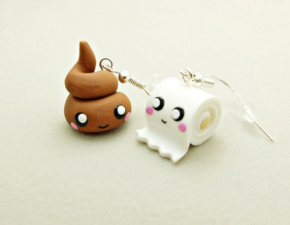 poo and toilet paper earrings kawaii
