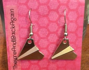 Silver PaperAirplane Earrings