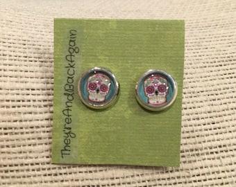 8mm Glass Colorful Skull Stud Earrings