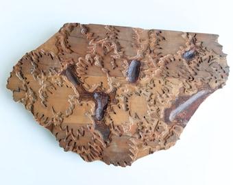 Vintage large wood printer block, textile or wallpaper printer fragment, wall hanging decor