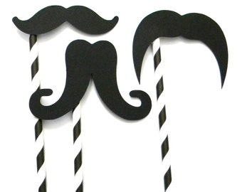12 Mustache Props on Paper Straws - Side Placement, Wedding Props, Photobooth Props, Little Man Theme, First Birthday, Photo props