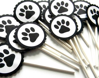 12 Paw Print Cupcake Toppers, Dog Birthday, Adoption Party, Pooch Party, Dog Paw Print, Dog Birthday, Party Decor, Cake Toppers