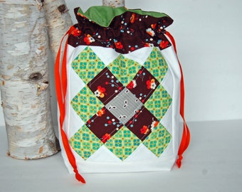 Medium  Patchwork Drawstring - Green