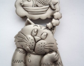 Vintage Signed JJ Silver pewter Cat Dreaming of Fish Dinner Brooch/Pin