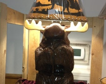 Chainsaw carved Moose Table Lamp
