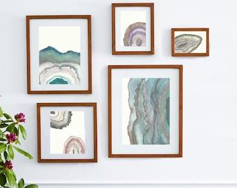 Modern Geodes Wall Collage,art bundle,wall collage,Watercolor geodes, raw crystals ,watercolor landscape,geode art,awakeyoursoul